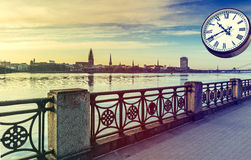 View on old Riga city from embankment of the Daugava river, Latvia. Royalty Free Stock Images