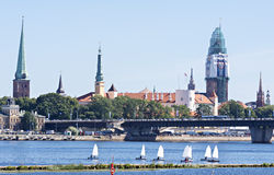 View on old Riga city from embankment of the Daugava river, Latvia. Stock Image