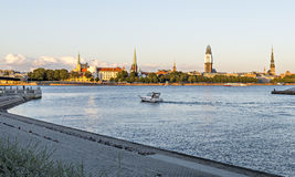 View on old Riga city from embankment of the Daugava river, Latvia. Stock Photo