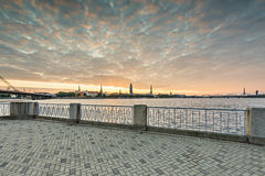 View on old Riga city from embankment of the Daugava river, Latvia Royalty Free Stock Photo