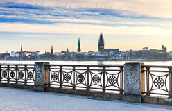 View on old Riga city from embankment of Daugava river Stock Photos