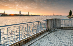 View on old Riga city from left bank of Daugava river Stock Images