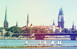 View on old Riga city with renovation of Dome church, Latvia Royalty Free Stock Photo