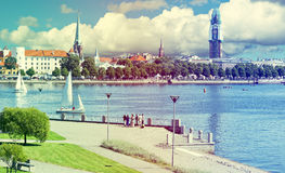 View on old Riga city with renovation of Dome church, Latvia Stock Photography