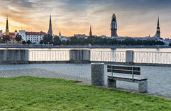 View on old Riga city with renovation of Dome church, Latvia Stock Image