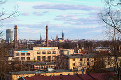 View of Old Riga from industrial side Royalty Free Stock Image