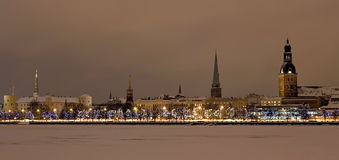 View of the Old Riga at the night Stock Photos