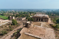 View on old ruins from Jahangir Mahal or Orchha Palace Stock Photo