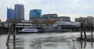 View of Old Sacramento from across river 4K stock video