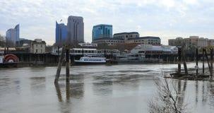 View of Old Sacramento across river 4K stock video