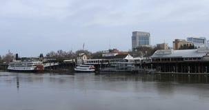 View of Old Sacramento across Sacramento River 4K stock video