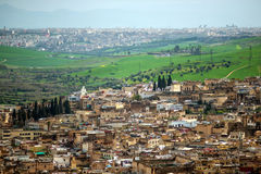 View of old silam medina downtown mosque in Fes, morocco Stock Photo