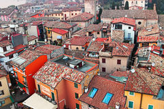 View of old Sirmione town from medieval  tower Stock Photos