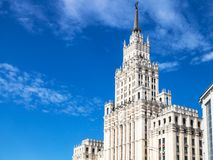 View of old skyscraper in Moscow city stock photography