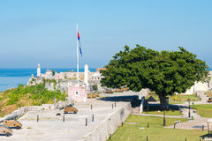 View of the old spanish castles facing Havana Stock Photography