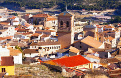 View of  old spanish town with belltower.  Chinchilla Royalty Free Stock Image