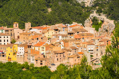 View of the old Spanish town in the forest, Pratdip. View of the old Spanish town in mountains and green forest, Pratdip, Taggagona Royalty Free Stock Photography