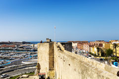 View of an old Spanish town from the height of Medieval Castle. Royalty Free Stock Image