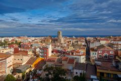 View of the old Spanish town Malgrat de Mar from the hill Stock Photography