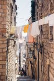 View of old steep street in Dubrovnik royalty free stock image