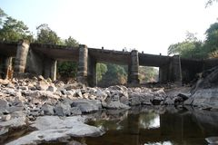 View on old stone bridge in the Highlnads of Maharashtra india Tansa stock images
