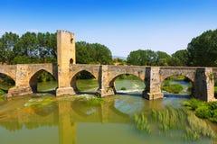 View of old stone bridge over Ebro. Frias Royalty Free Stock Image