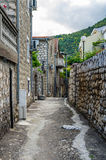 View on old street in Becici, Montenegro Royalty Free Stock Photos