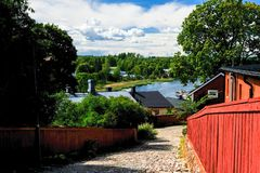 View for old street in Porxoo, old finland town on Porvoonjoki river royalty free stock images