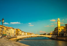 View of old street and river Arno in Pisa city Royalty Free Stock Photos