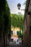 View of street inTrastevere. View of the old street in Trastevere in Rome, Italy Royalty Free Stock Photos