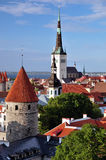 View of old Tallinn. View of Oleviste church in summer Stock Image