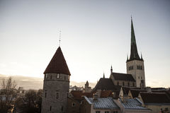 View of old Tallinn city, Estonia with the old dome cathedrals. Royalty Free Stock Images