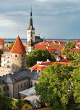 View of old Tallinn in summer. Oleviste church and towers of old Tallinn Royalty Free Stock Images