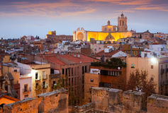 View of  old Tarragona with gothic Cathedral in evening Stock Photo