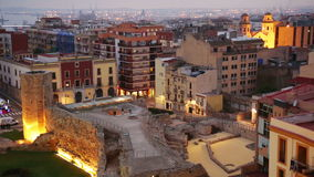 View of  old Tarragona in twilight time. Catalonia, Spain stock video footage