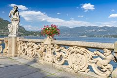 View of old terrace in the park of villa Balbianello, Como lake, Italy. View of old terrace in the park of villa Balbianello, Como lake Italy royalty free stock image