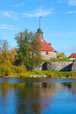 View of the old tower Lars Torstennsona, sunny afternoon. Korela fortress. Priozersk, Russia Royalty Free Stock Photography