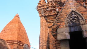 View of old tower at ruins of culture centre Tháp Bà Ponagar stock video footage