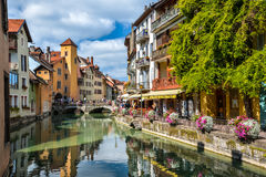 View of the old town of Annecy. France. Royalty Free Stock Images