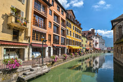 View of the old town of Annecy. France. Annecy, called `Venice of the Alps`. France stock image