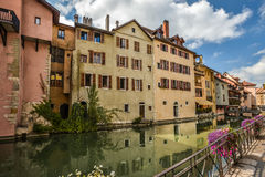 View of the old town of Annecy. France. Annecy, called `Venice of the Alps`. France stock photo