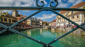 View of the old town of Annecy. France. Annecy, called `Venice of the Alps`. France. The view through the fence royalty free stock images