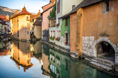 View of the old town of Annecy. France. Annecy, called `Venice of the Alps`. France. The reflection in the canal Royalty Free Stock Image