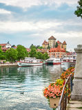 View of the old town of Annecy - France stock photography