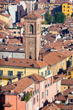 View on old town from Asinelli tower in Bologna Stock Photos