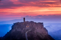 View of the old town of Bagnoregio at dusk Stock Photography