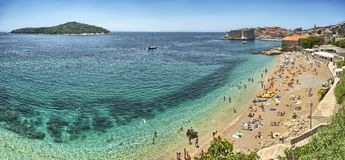 View on old town and beach in Dubrovnik, Croatia Stock Photos