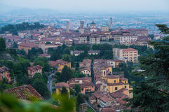 View at Old Town of Bergamo from San Vigilio Hill. Italy. View at Old Town Citta Alta of Bergamo from San Vigilio Hill. Italy Stock Images