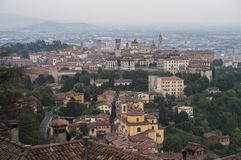 View at Old Town of Bergamo from San Vigilio Hill. Italy. View at Old Town Citta Alta of Bergamo from San Vigilio Hill. Italy Stock Photo