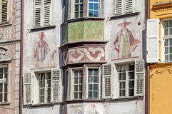 View of the old town of Bozen in Italy. Close view of the typical facades in the old town of Bozen in Italy Stock Image